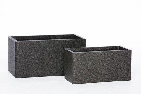 Set of 2 flower pots IQBANA RECTANGLE black