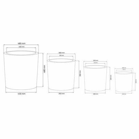 Set of 4 IQBANA ROUND pots - Black - 480/390/320/250