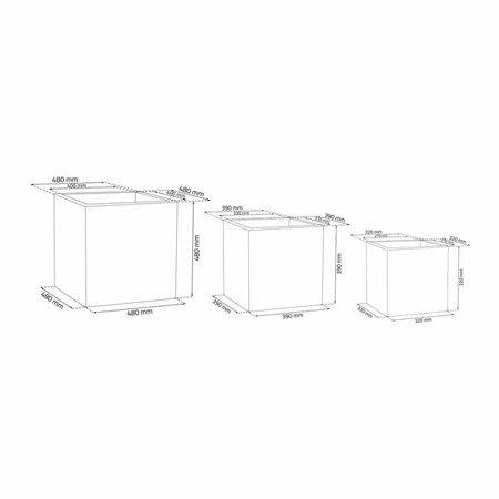 Ein Set von 3 IQBANA SQUARE Töpfen - Schwarz - 480/390/320